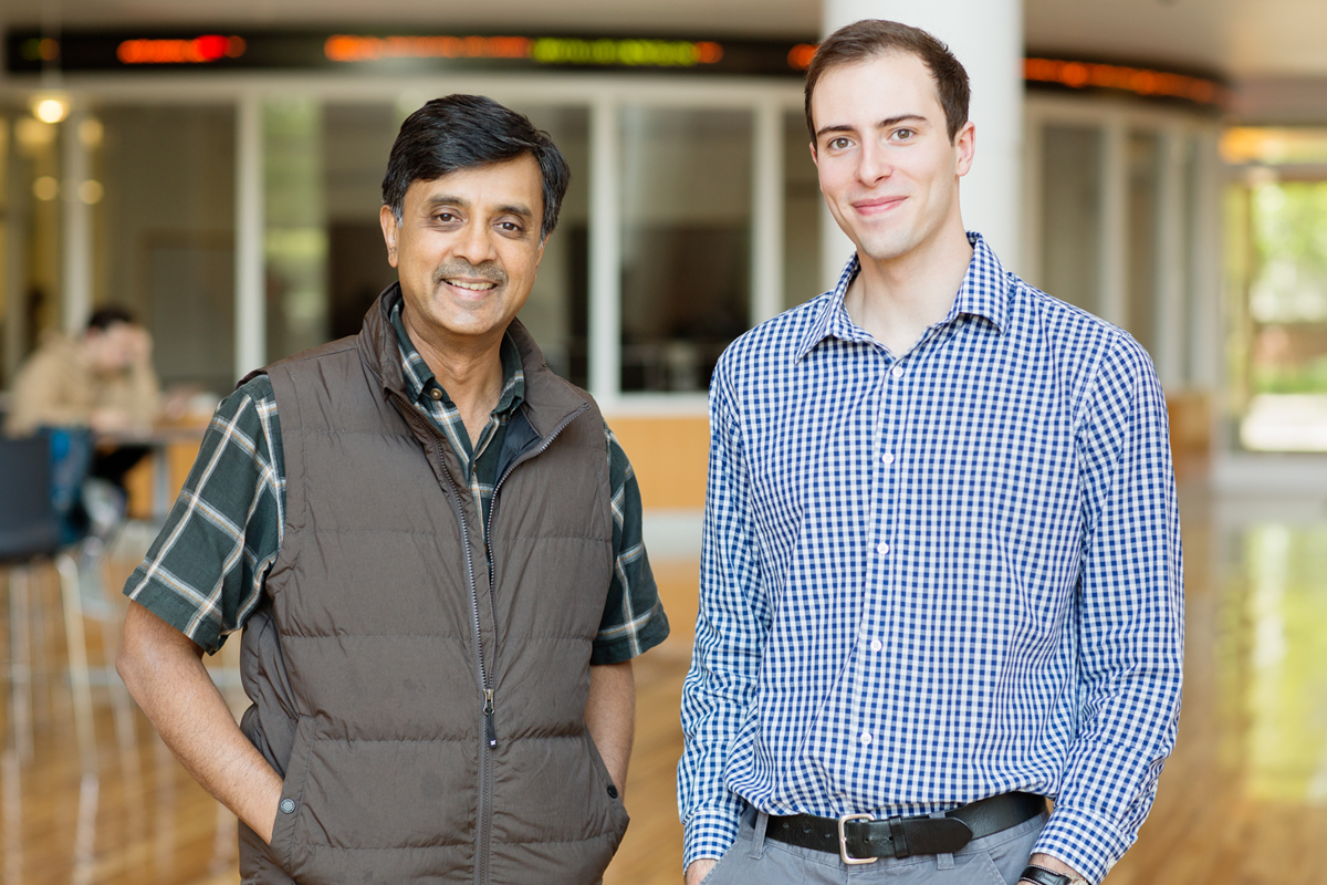 Madhu Viswanathan (left), professor of business and Steven Morse, student.