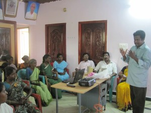 Students in a South Indian marketplace literacy class.